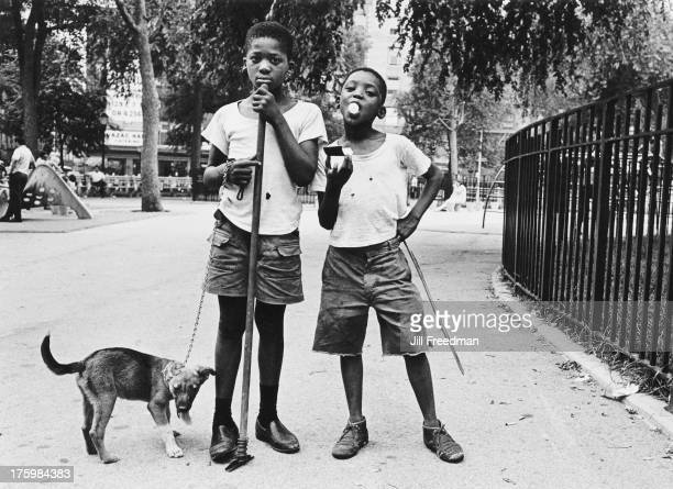 Two boys and their dog in a park USA circa 1975
