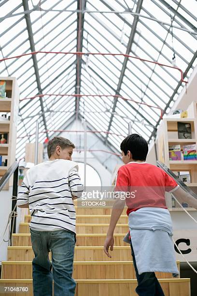 Two boys ascending staircase in a library