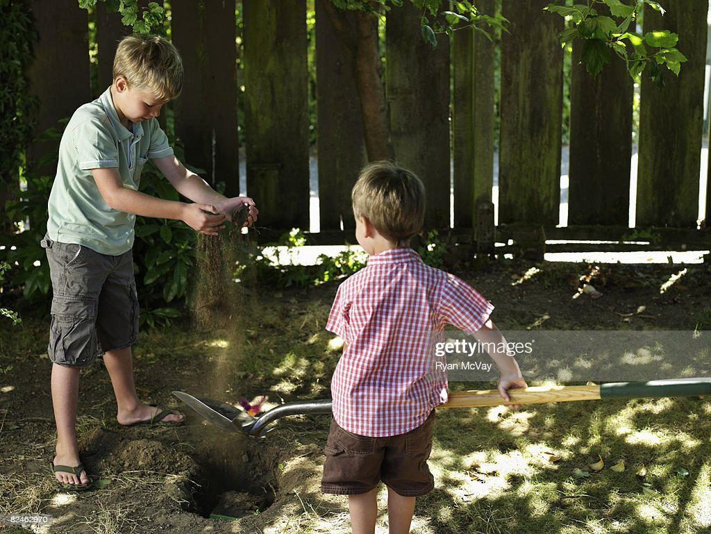 two boys in yard burying pet stock photo getty images