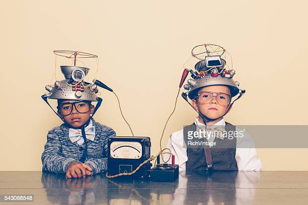 Two Boys Dressed as Nerds with Mind Reading Helmets
