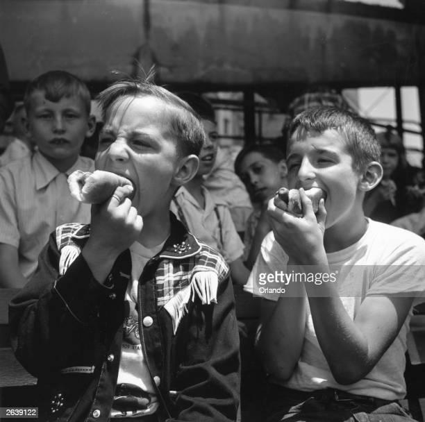 Two boys eating hotdogs during a baseball match