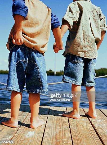 Two boys (2-5) holding hands on dock, rear view