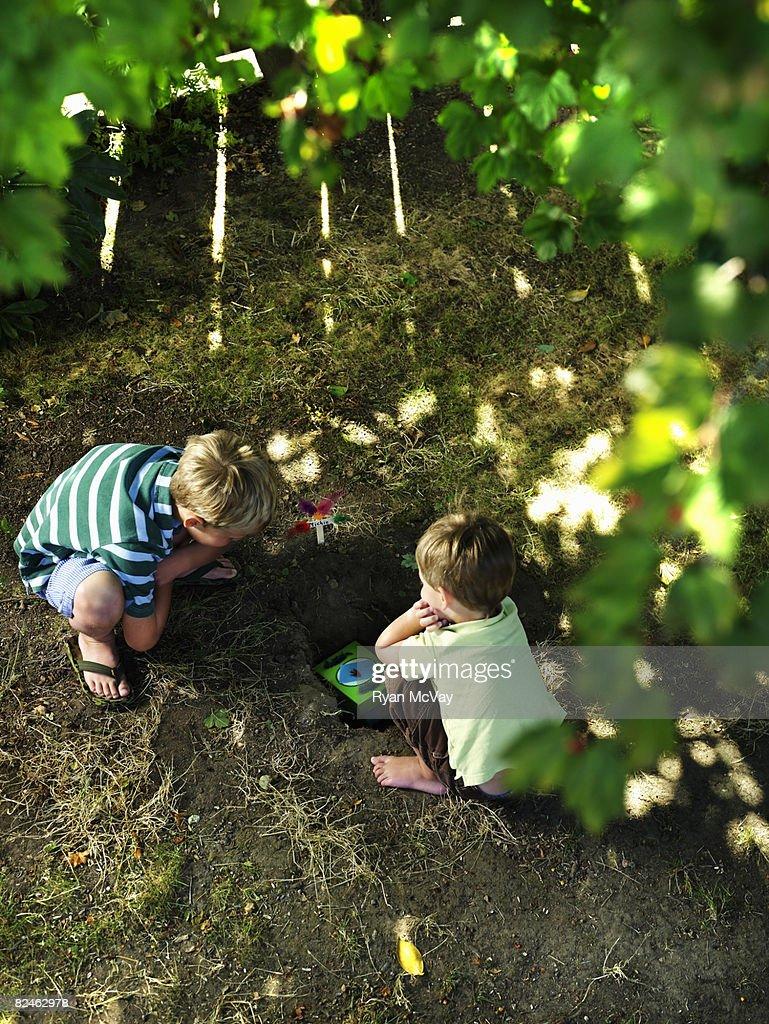 Two boys in yard burying pet
