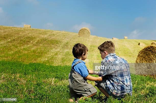 Two boys on a farm