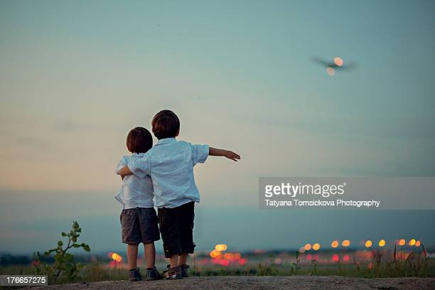 Two boys on an airport