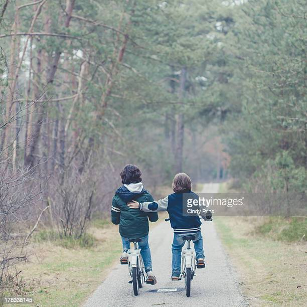 Two boys on bikes on a tree lane