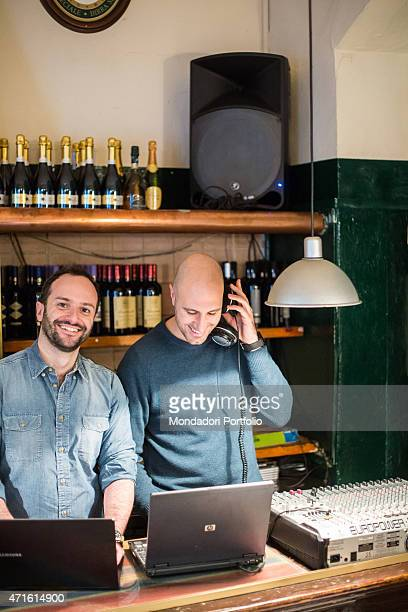 'Two boys party organizers during a party Milan January 2014 '