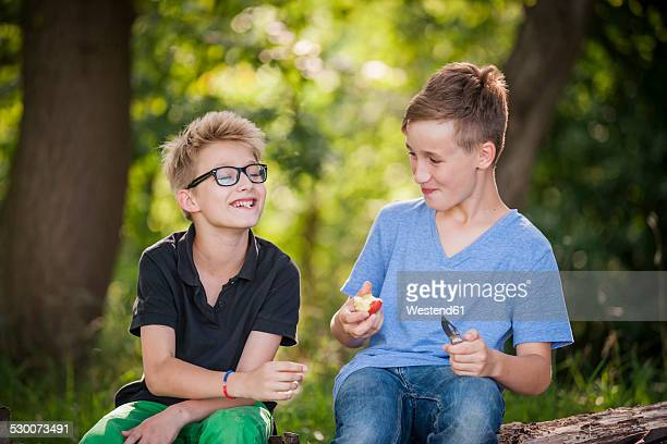 Two boys sitting on a tree trunk eating an apple