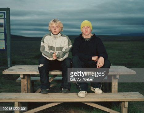Two boys (12-15) sitting on picnic table, portrait : Stock Photo