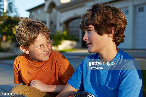 Two boys talking