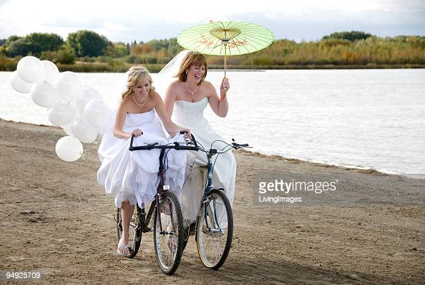 Two Brides on bikes