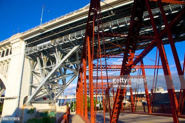 Two bridges crossing Cuyahoga River, Cleveland