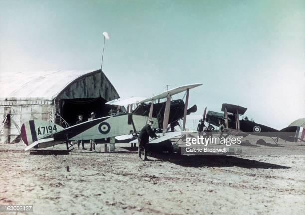 Two Bristol F2B Fighter aircraft from the No 1 Squadron of the Australian Flying Corps at El Mejdel base February 1918 The aircraft in the front is...