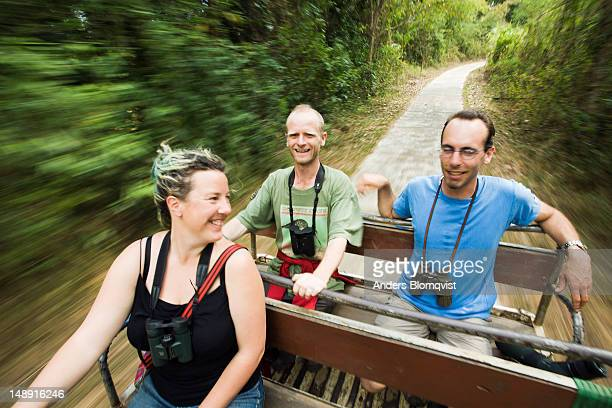Two British and Swiss birdwatcher on jeep ride through  forest.