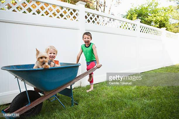 Two brothers playing with dog and a wheel barrel