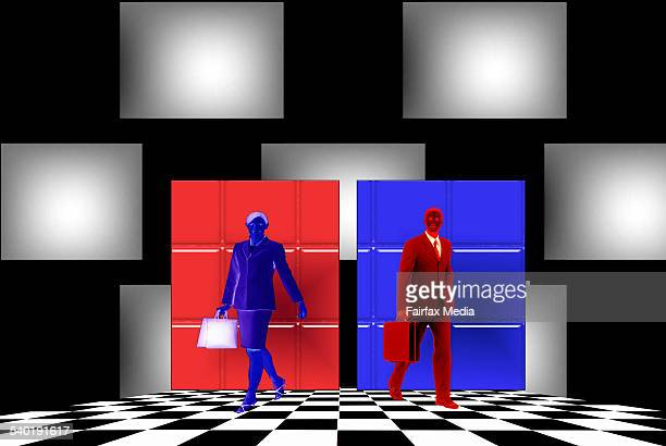 Two business figures red and blue walking away from each other