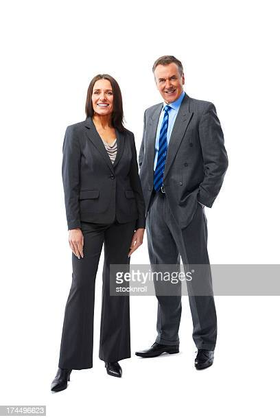 Two business partners standing together on white