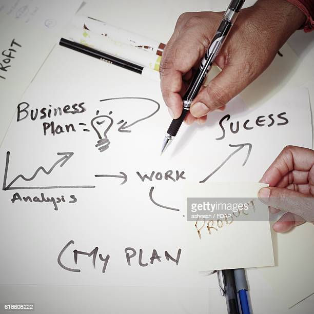 Two business people drawing business plan