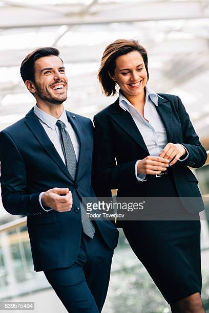 Two business people taking a break at work