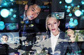 Two business persons in front of futuristic display. Graphical User Interface(GUI). Head up Display(HUD). Internet of things.