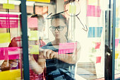 Two business females working together on wall glass with post it stickers. Modern startup office