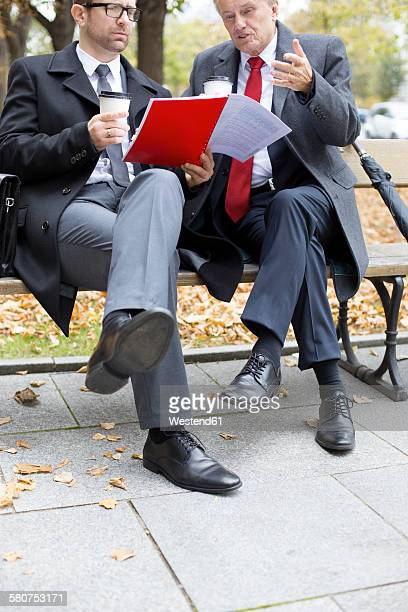 Two businessmen discussing document on park bench