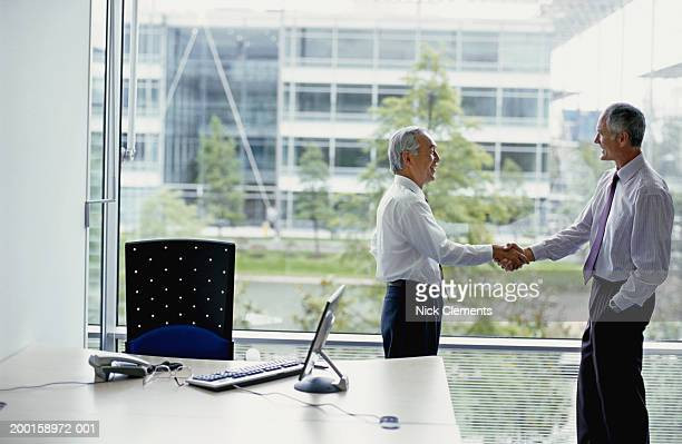 Two businessmen shaking hands in office by window, side view