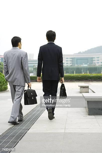 Two businessmen walking in office park, rear view