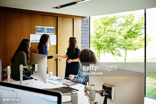 Two businesswoman shaking hands in office