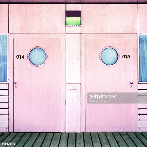 Two cabin doors on a ship