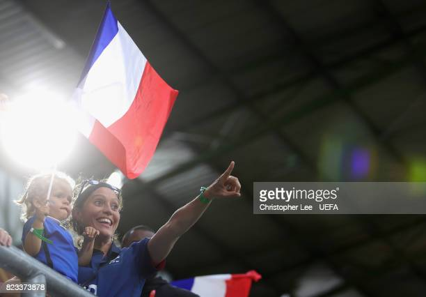 Two Camille Abily of France fans cheer during the UEFA Women's Euro 2017 Group C match between Switzerland and France at Rat Verlegh Stadion on July...