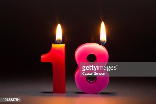 Two Candles In The Shape Of The Number 18