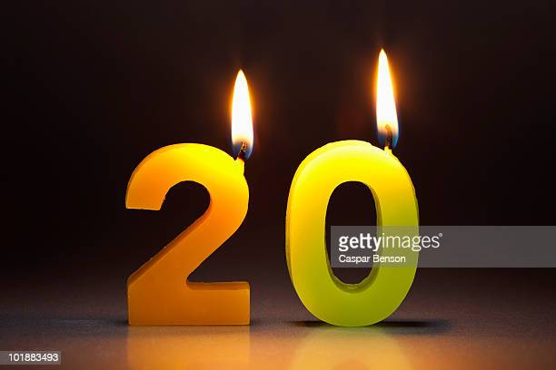 Two Candles In The Shape Of The Number 20