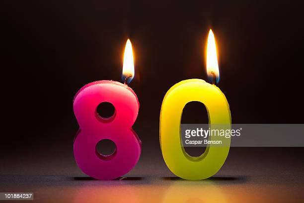 Two Candles In The Shape Of The Number 80