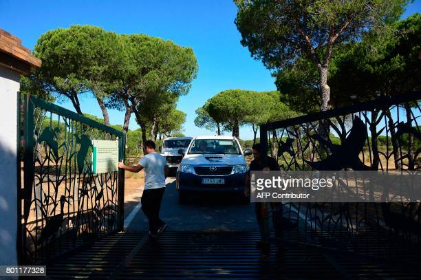 Two cars of Donana Natural Park's employees leave the visitor centre El Acebuche where the Lynx is protected and where none area was affected by the...