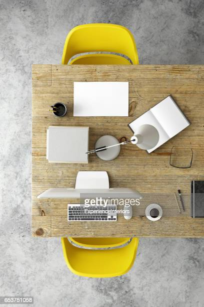 Two chairs at a desk business knolling template