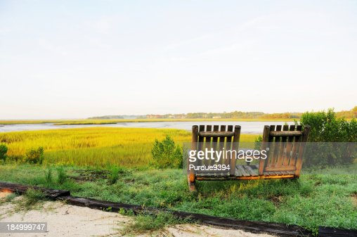Two Chairs Overlooking Amelia Island Florida River Marsh at Dawn