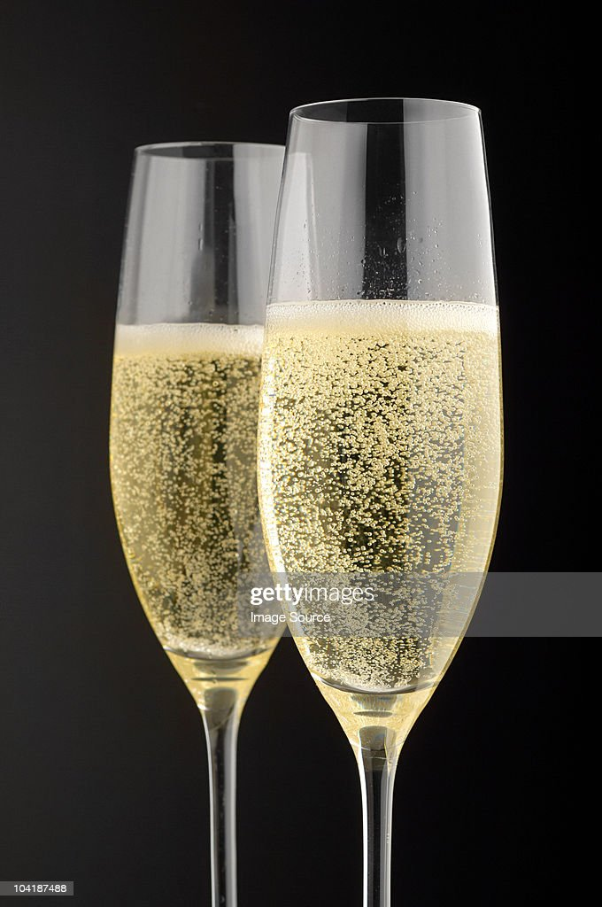 Two champagne glasses with champagne : Stock Photo