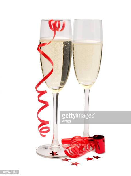 Two Champagne Glasses with Party Streamers