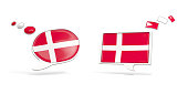 Two chat icons with flag of denmark. Round and square speech bubbles. 3D illustration