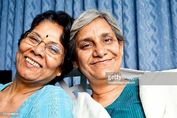 Two cheerful Senior Indian Women friends