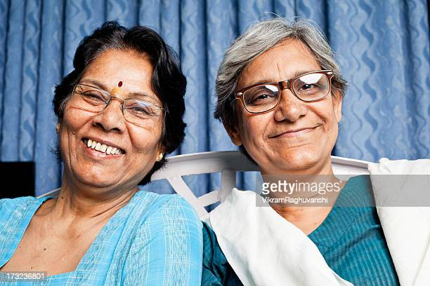 Two cheerful Senior Indian Women friends