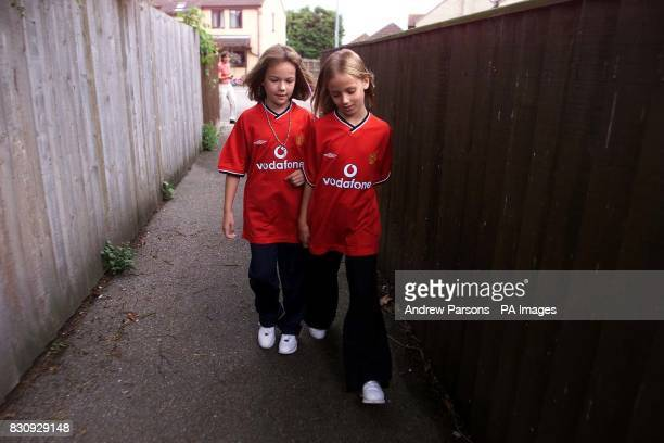 Two child actors playing Jessica Chapman left and Holly Wells in the ally way from Redhouse Gardens onto Tanners Lane as they take part in a police...