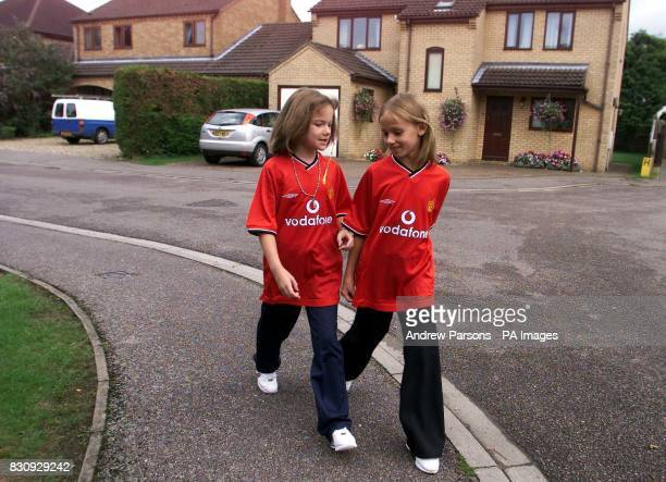 Two child actors playing Jessica Chapman left and Holly Wells leave Holly Wells House in Redhouse Gardens as they take part in a police...