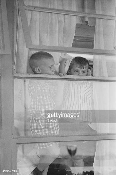 Two child evacuees from Baghdad at Esenboga Airport Ankara Turkey 25th July 1958 The the boys have been evacuated from Iraq following the coup d'état...