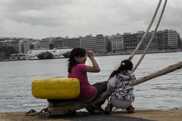 Refugees at Piraeus port