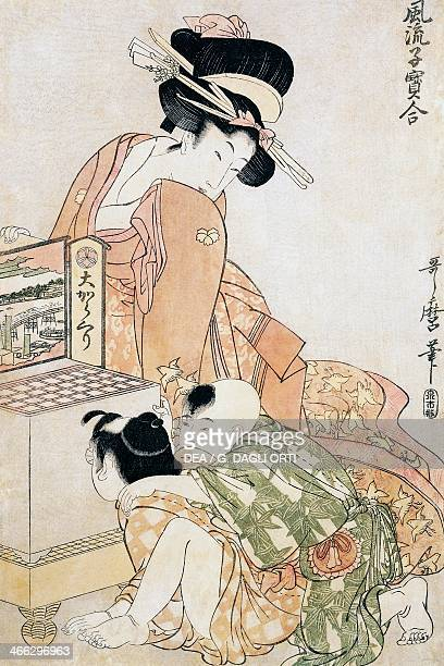 Two children looking into a large optical box ukiyoe art print by Kitagawa Utamaro woodcut Japanese civilisation Edo period 17th19th century