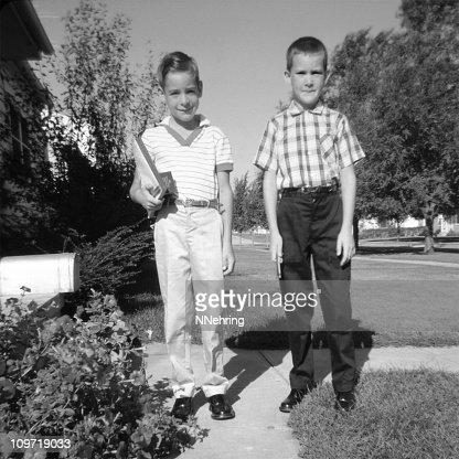 Two Children Ready for School 1959, Retro