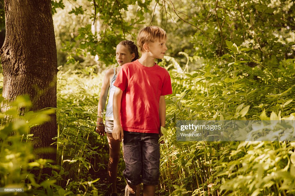Two children walking through Himalayan Balsam in a forest