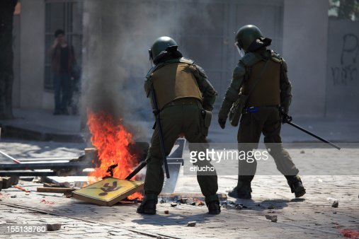 Two Chilean Riot Police